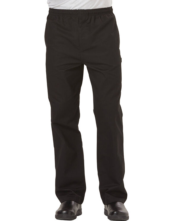 Men's Traditional Baggy Zipper Fly Chef Pant - BLACK (BLK)