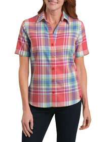 Women's Short Sleeve Plaid Shirt - PLIAD CORAL REEF/FRENCH BLUE (PCF)