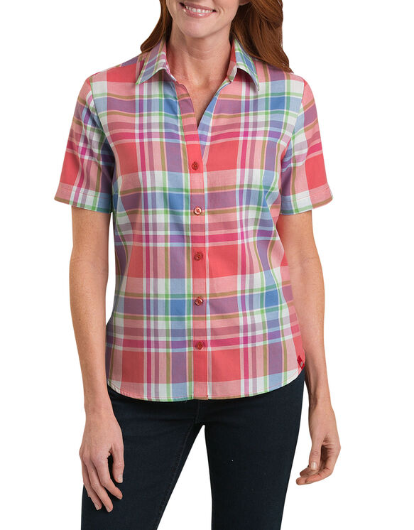 Short sleeve plaid shirt womens tops dickies for Dickies short sleeve plaid shirt
