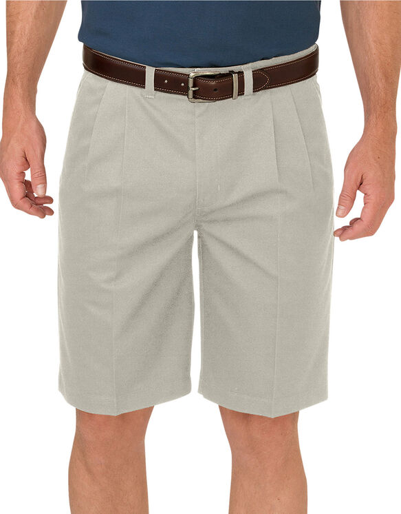 "Dickies KHAKI 10"" Relaxed Fit Pleated Front Short - RINSED STONE (RST)"