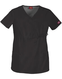 Women's Gen Flex Maternity Mock Wrap Scrub Top - BLACK-LICENSEE (BLK)