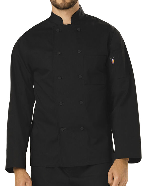 Unisex Classic Cloth Covered Button Chef Coat - BLACK (BLK)