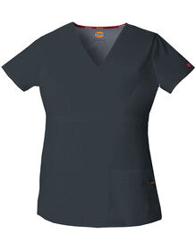 Women's EDS Signature Mock Wrap Scrub Top - PEWTER (PEW)