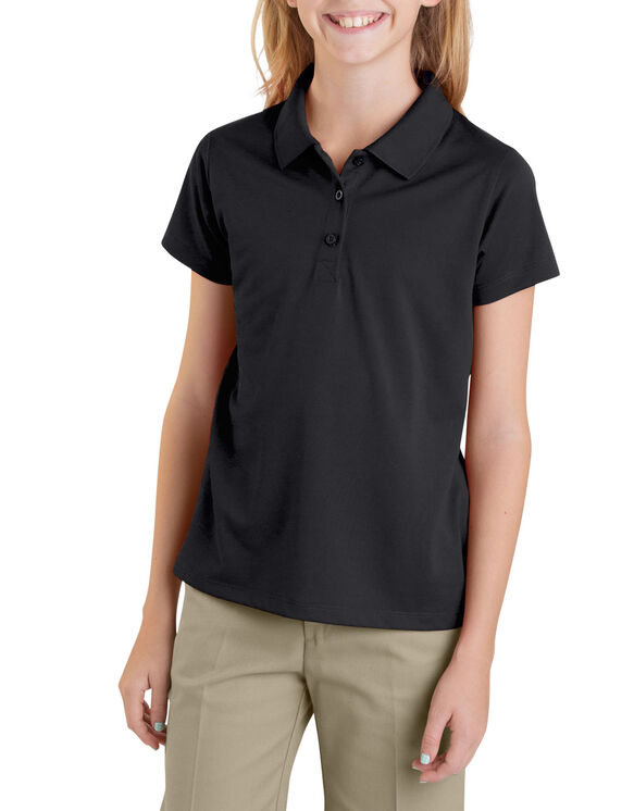 Girls' Performance Short Sleeve Polo, 7-20 - BLACK (BK)