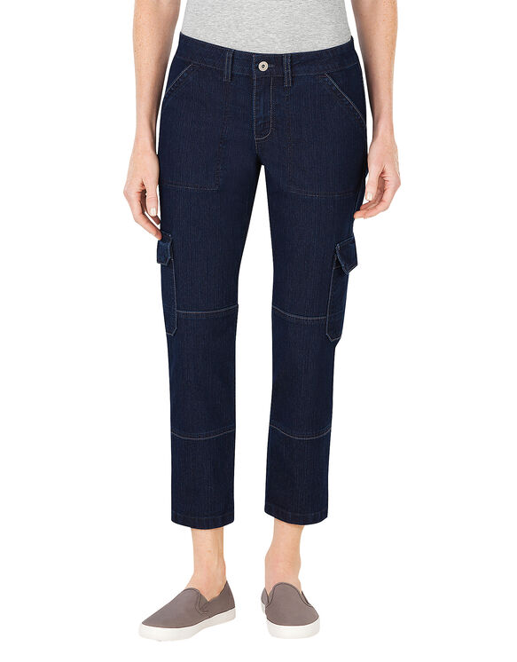 Women's Slim Fit Denim Cargo Capri - DARK STONE WASH (DSW)