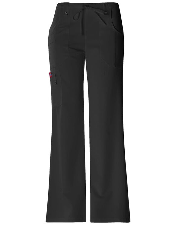Women's Xtreme Stretch Drawstring Flare Scrub Pant - BLACK-LICENSEE (BLK)
