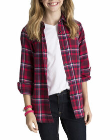 Girls Long Sleeve Flannel Shirt - POINSETTA/BURGANDY PLAID (PYP)