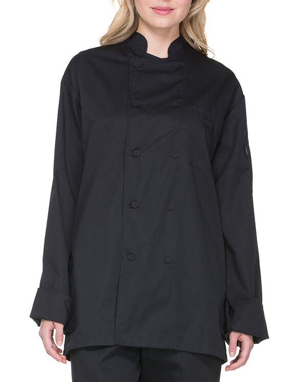 Unisex Cool Breeze Long Sleeve Chef Coat - BLACK-LICENSEE (BLK)