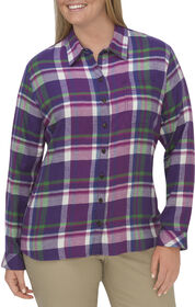 Women's Long Sleeve Plaid Flannel Shirt (Plus) - PETUNIA LEAF GREEN PINK BERRY (UYP)