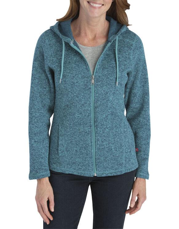 Women's Sweater Hooded Jacket - BLUE HAZE/TEAL (ZUT)