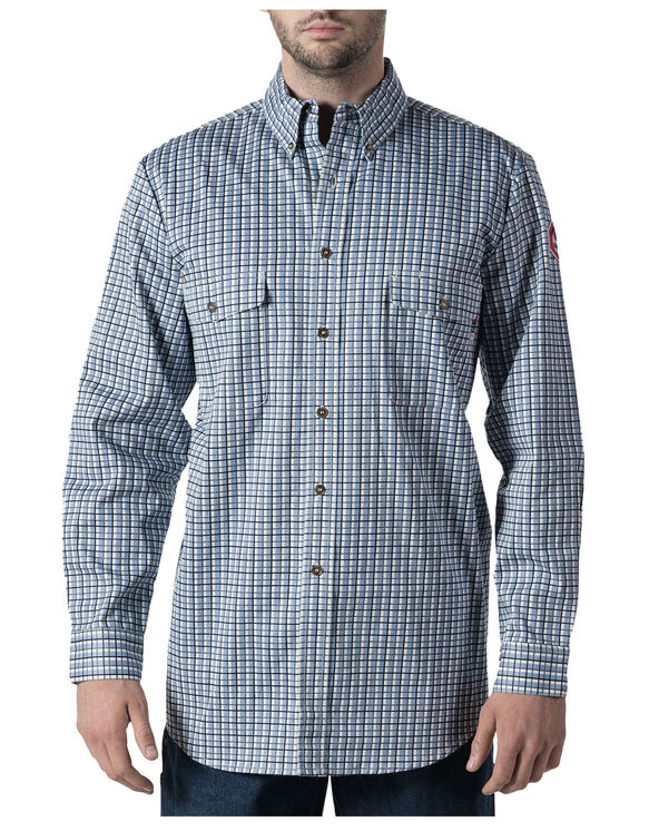Walls® Flame Resistant Plaid Workshirt - NAVY BLUE GRID (NVG)