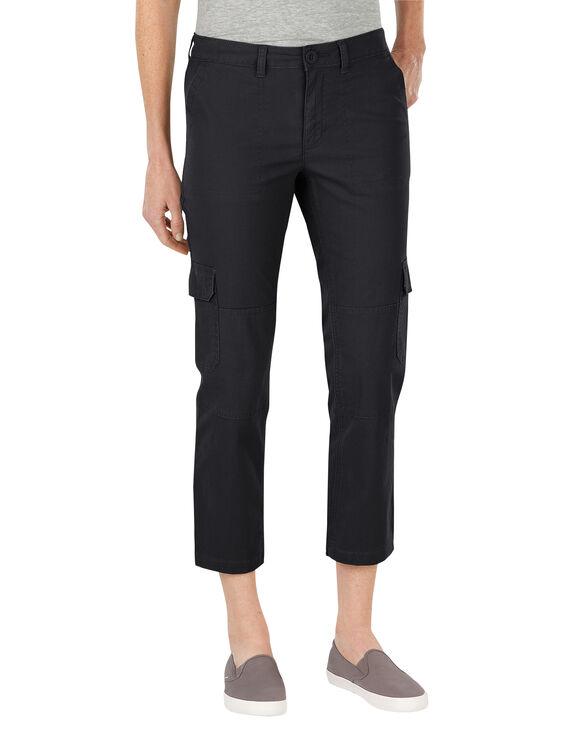 Women's Slim Fit Ripstop Cargo Capri - RINSED BLACK (RBK)