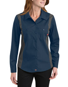 Women's Industrial Long Sleeve Color Block Shirt - DARK NAVY/SMOKE (DNSM)