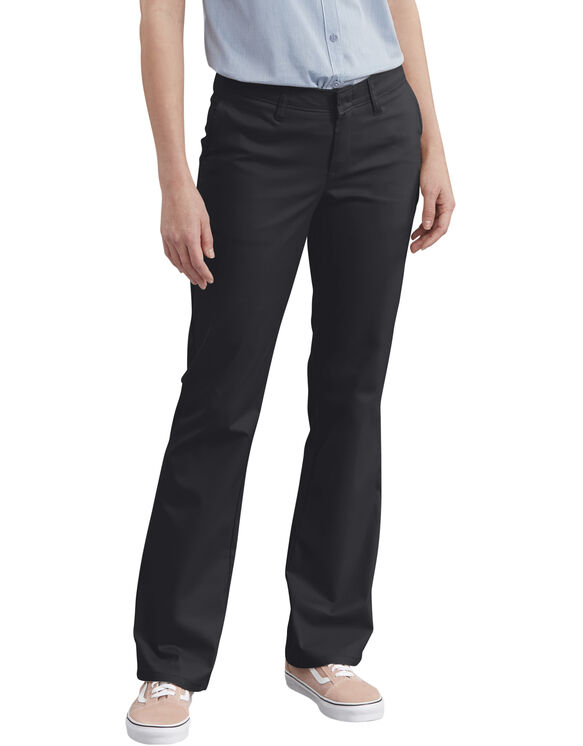 Women's Slim Fit Boot Cut Stretch Twill Pant - BLACK (BK)