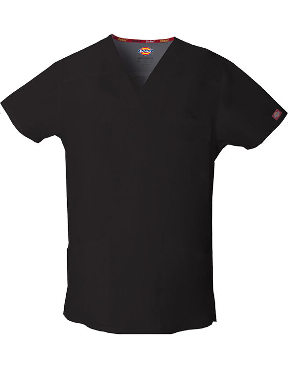 Men's EDS Signature V-Neck Scrub Top - BLACK (BLK)