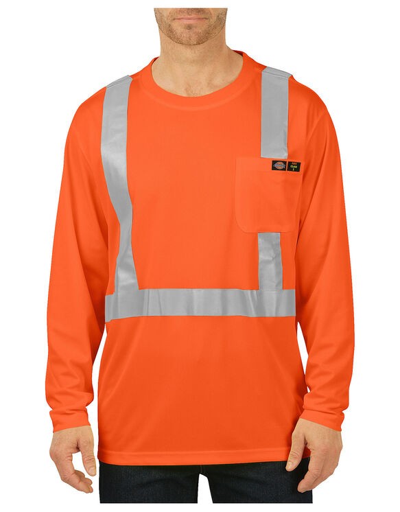 Hi-Vis Long Sleeve Pocket T-Shirt, Class 2 - ANSI ORANGE (AO)
