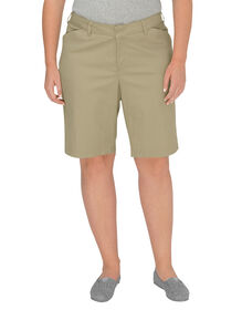 "Women's 10"" Relaxed Fit Stretch Twill Short (Plus) - DESERT SAND (DS)"