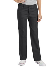 Girls' Flex Slim Fit Straight Leg Flat Front Pant, 7-16 - BLACK (BK)