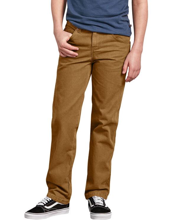 Boys' Straight Leg Carpenter Duck Pant, 8-18 - RINSED BROWN DUCK (RBD)