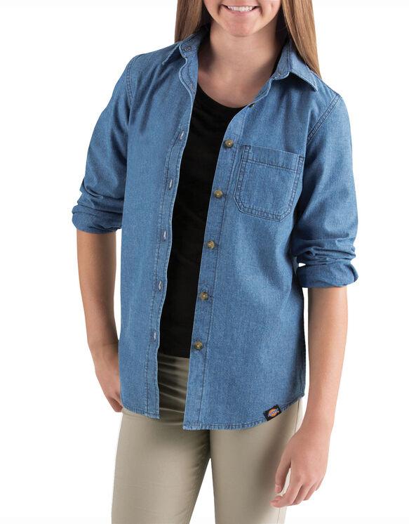 Girls' Long Sleeve Chambray Shirt, 7-20 - RINSED LIGHT INDIGO CHAMBRAY (RLI)