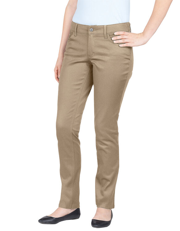 Dickies Girl Juniors Curvy Fit Skinny Leg 5-Pocket Pant - KHAKI (KHA)