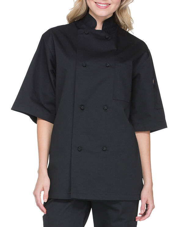 Unisex Classic Knot Button Short Sleeve Chef Coat - BLACK (BLK)
