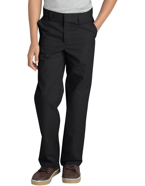 Boys' FlexWaist® Flat Front Pant with Logo, 8-20 - BLACK (BK)