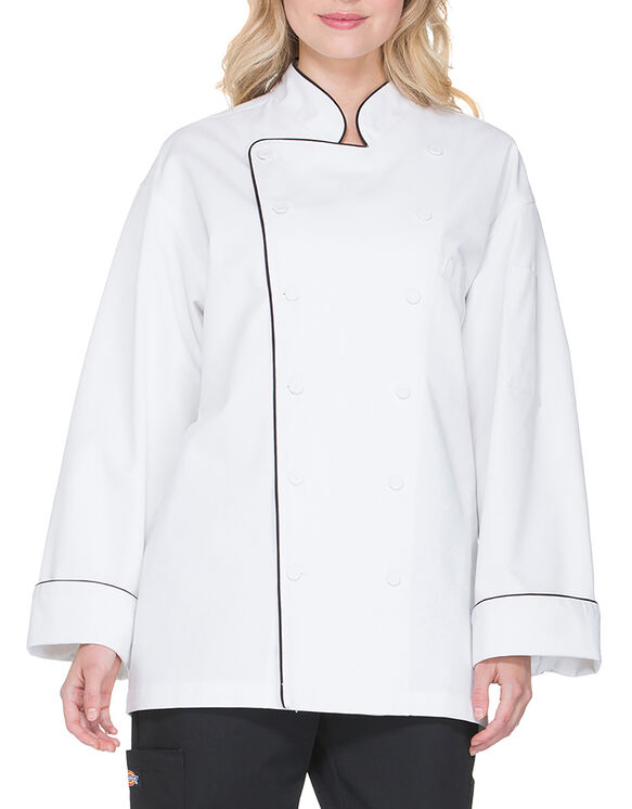 Unisex Executive Chef Coat with Fluid Barrier with Piping - BLACK (BLK)