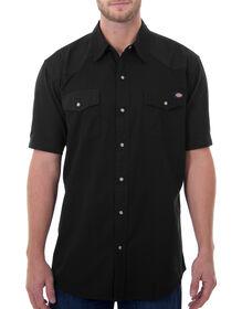 Short Sleeve Twill Western Shirt - BLACK (BLK)