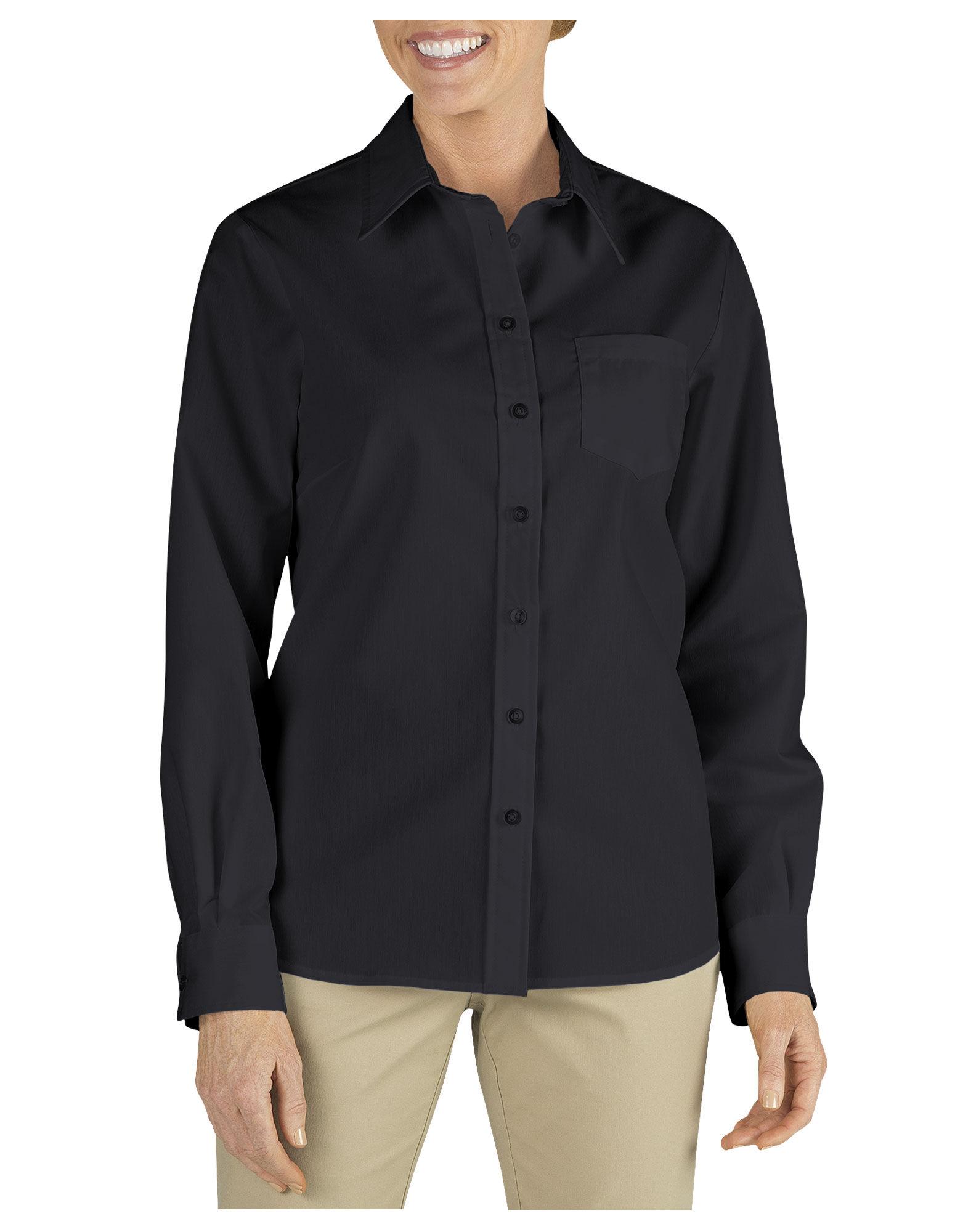 Women 39 s long sleeve work shirt dickies for Long sleeve poplin shirt