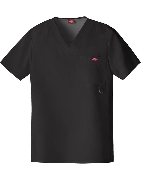 Men's Xtreme Stretch V-Neck Scrub Top - BLACK (BLK)