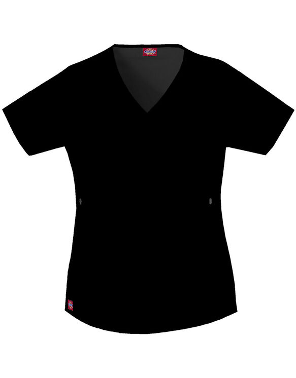 Women's Contemporary Fit Gen Flex Youtility Mock Wrap Scrub Top - BLACK (BLK)
