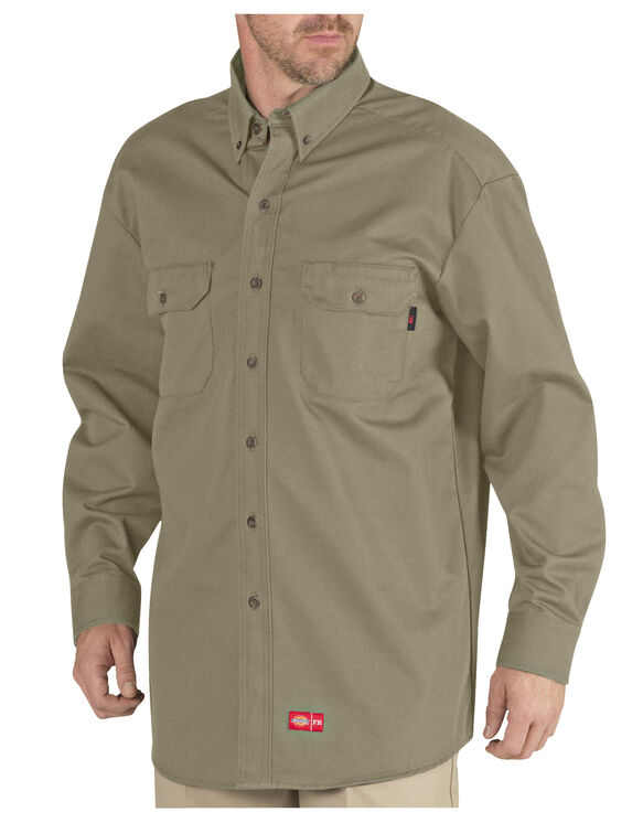 Flame-Resistant Long Sleeve Twill Button-Down Shirt - KHAKI (KH)