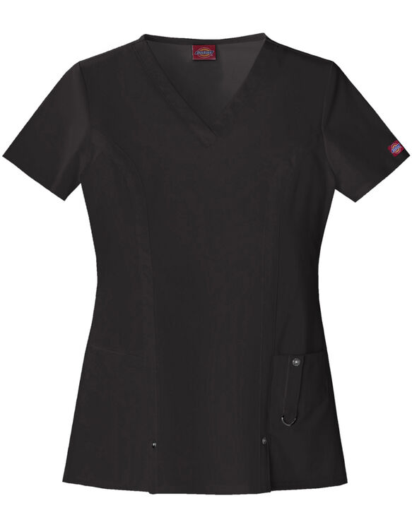 Women's Contemporary Fit Xtreme Stretch V-Neck Scrub Top - BLACK-LICENSEE (BLK)