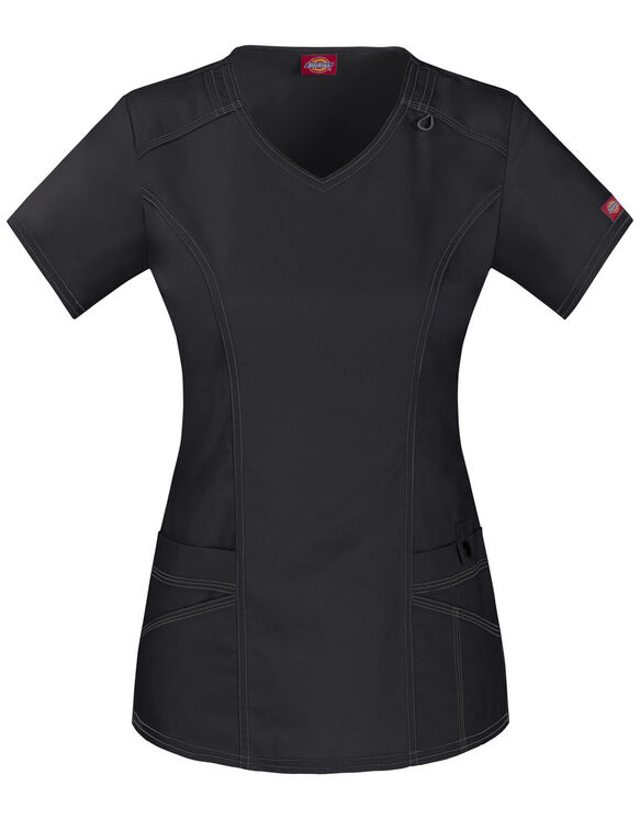 Women's Contemporary Fit Gen Flex V-Neck Scrub Top - BLACK (BLK)