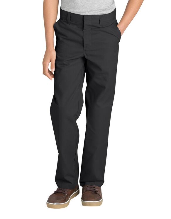 Boys' Classic Fit Straight Leg Flat Front Pant, 8-20 Husky - BLACK (BK)