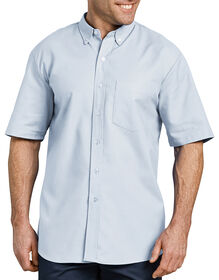 Button-Down Oxford Short Sleeve Shirt - WHITE/BLUE STRIPE (BS)