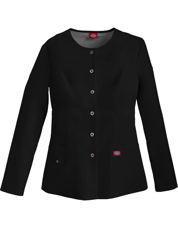 Women's Snap Front Warm-Up Jacket - BLACK (BLK)
