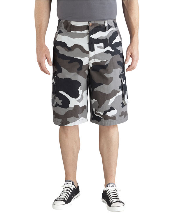 "13"" Relaxed Fit Bellowed Cargo Short - BLACK/WHITE CAMO (SBWC)"