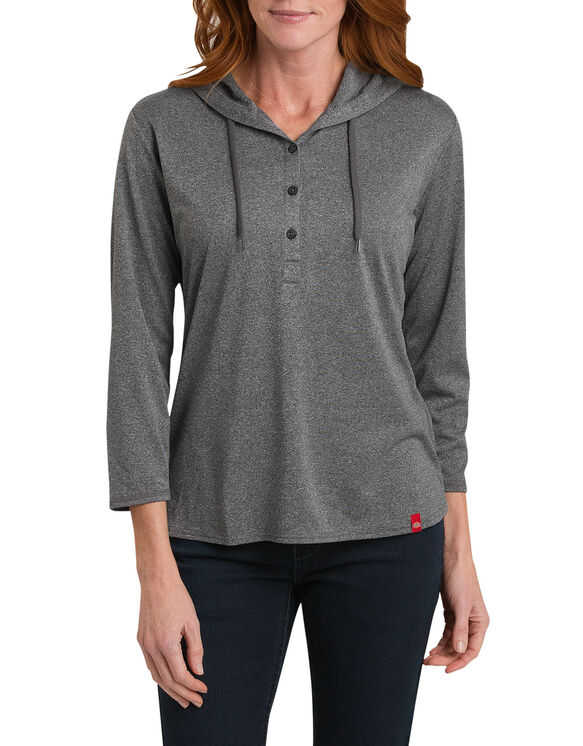 Women's Henley Pullover Hoodie - KNIT BLACK HEATHER (KBH)