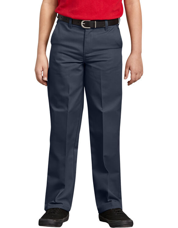 Boys' Classic Fit Straight Leg Flat Front Pant, 8-20 - DARK NAVY (DN)