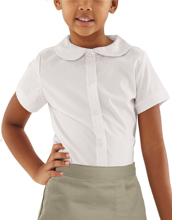 Girls' Peter Pan Collar Short Sleeve Blouse - WHITE (WH)
