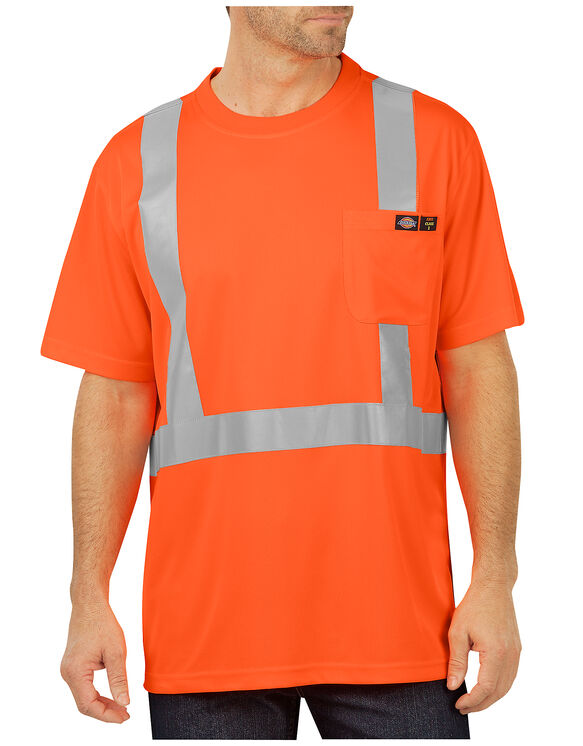 Hi-Vis Short Sleeve Pocket T-Shirt, Class 2 - ANSI ORANGE (AO)