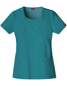 Women's Junior Fit Xtreme Stretch Mock Wrap Scrub Top - DICKIES TEAL-LICENSEE (DTL)
