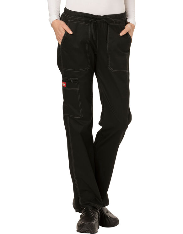 Women's Gen Flex Low Rise Drawstring Scrub Pant - BLACK-LICENSEE (BLK)