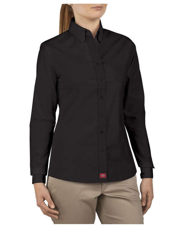 Dickies Girl Juniors Long Sleeve Button-Down Shirt - BLACK-LICENSEE (BLK)
