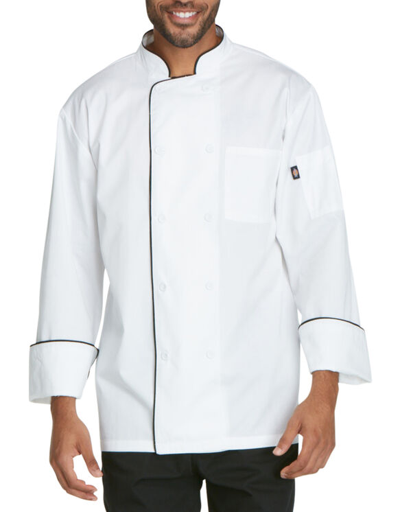 Unisex Cool Breeze Chef Coat with Piping - BLACK-LICENSEE (BLK)