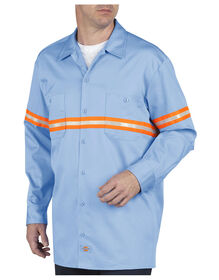 Enhanced Visibility Long Sleeve Twill Work Shirt - LIGHT BLUE (LB)