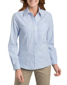 Women's Long Sleeve Stretch Oxford Shirt - WHITE/BLUE STRIPE (BS)