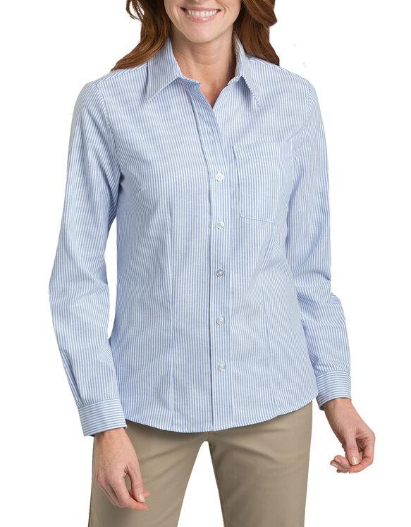 Women's Long Sleeve Stretch Oxford Shirt - WHITE/BLUE STRIPE (BS)